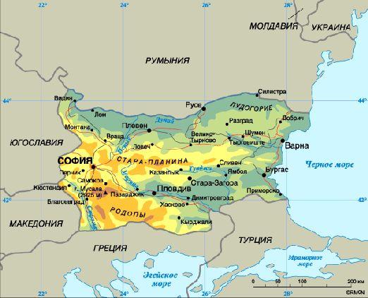 Топографическая карта Болгарии
