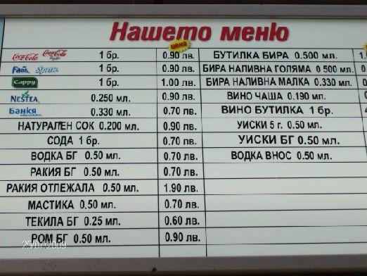 Стоимость напитков в болгарском кафе ( в левах)