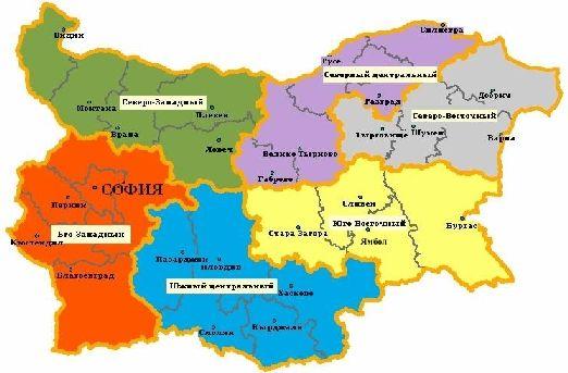 Карта регионов и административных областей Болгарии