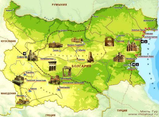 Карта лучших курортов Болгарии для отдыха с детьми